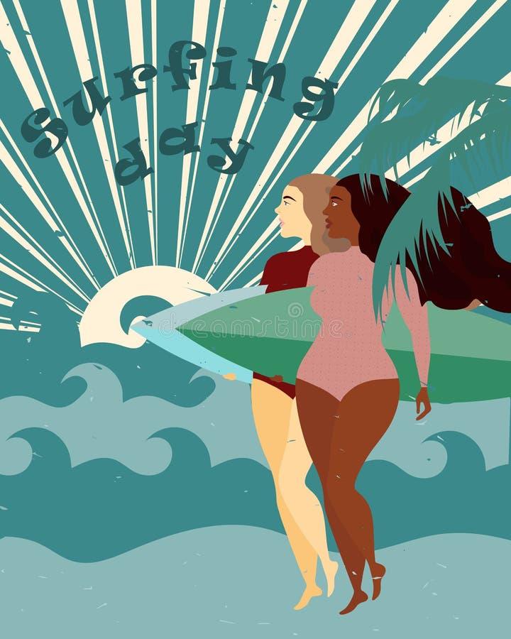 Αφίσα με τα κορίτσια surfer με την ιστιοσανίδα στην παραλία Αρκετά μαύρο κορίτσι Διεθνής ημέρα σερφ απεικόνιση αποθεμάτων