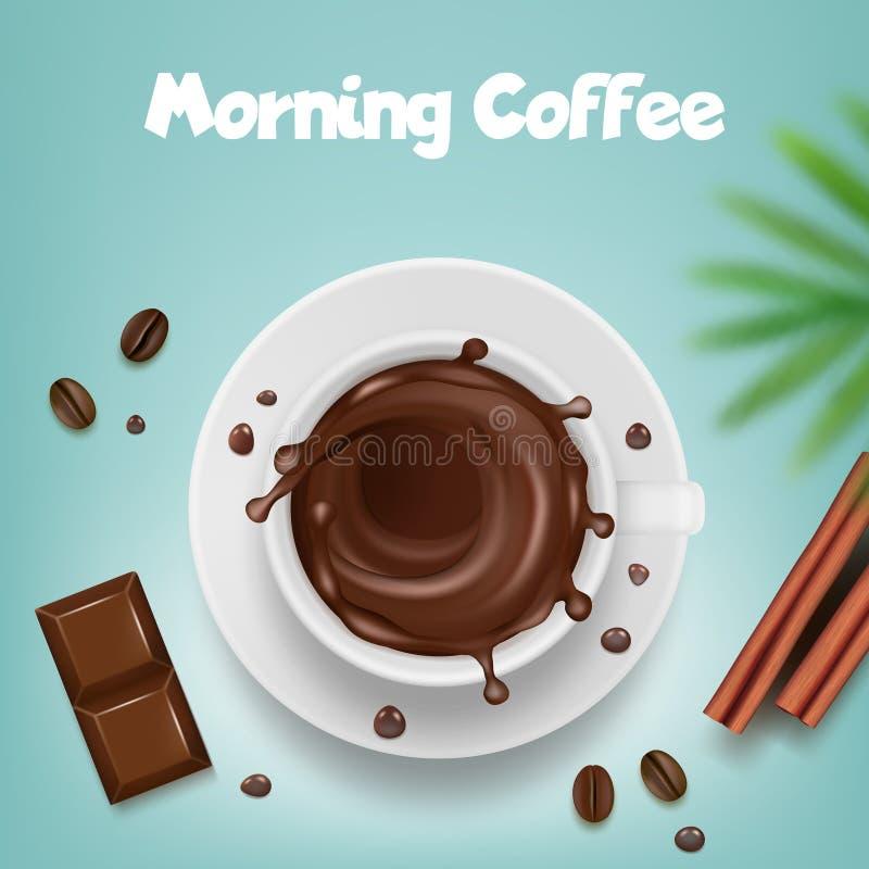 Διαφήμιση καφέ Αφίσα με την κούπα καφέ με το καυτό καφετί πρότυπο προϊόντων παφλασμών και φασολιών διανυσματικό ελεύθερη απεικόνιση δικαιώματος