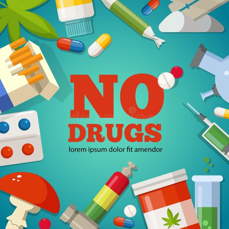 Αφίσα με την προώθηση της υγείας Φαρμακευτικές εικόνες Κανένα φάρμακο ελεύθερη απεικόνιση δικαιώματος
