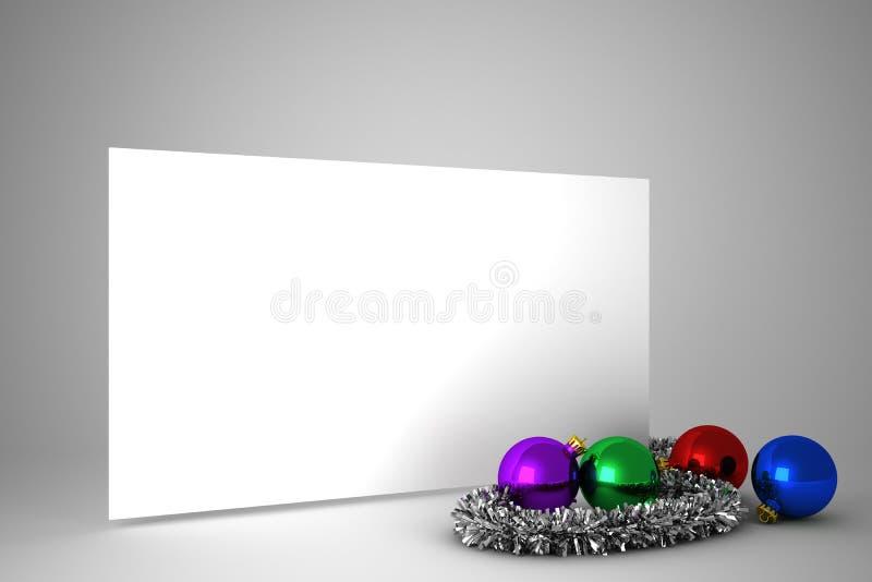 Αφίσα με τις ζωηρόχρωμες διακοσμήσεις Χριστουγέννων διανυσματική απεικόνιση