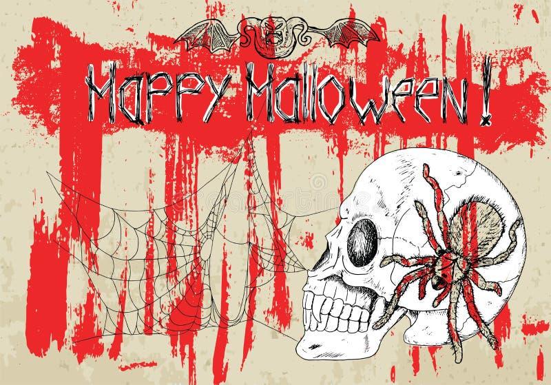 Αφίσα με το κρανίο και αράχνες στο αιματηρό υπόβαθρο ελεύθερη απεικόνιση δικαιώματος