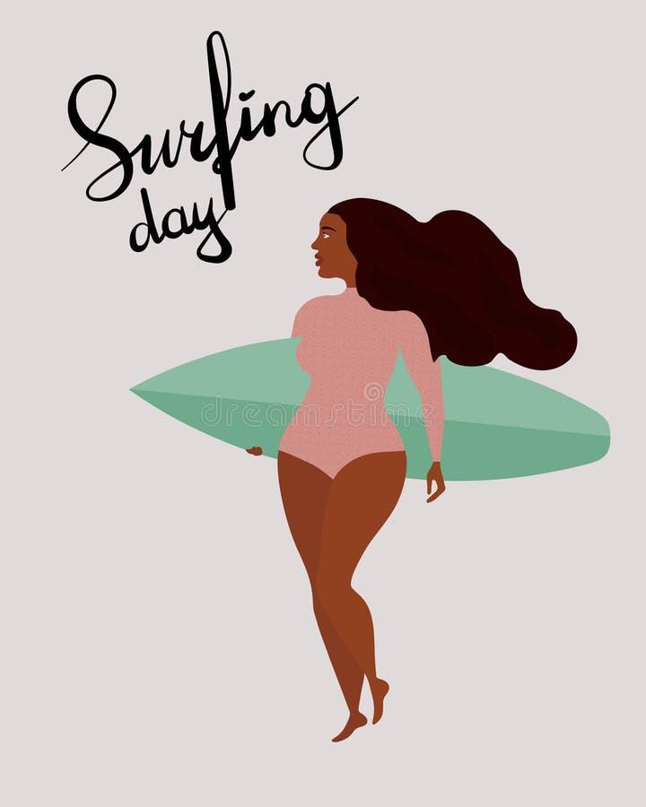 Αφίσα με το μαύρο κορίτσι surfer με την ιστιοσανίδα Ημέρα σερφ εγγραφής διεθνής διανυσματική απεικόνιση