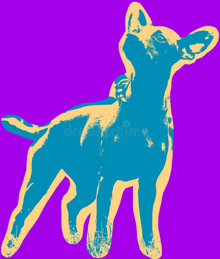 Αφίσα με το πορτρέτο ενός μικροσκοπικού σκυλιού pinscher απεικόνιση αποθεμάτων