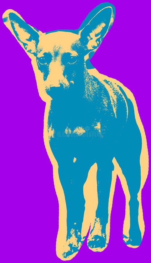 Αφίσα με το πορτρέτο ενός μικροσκοπικού σκυλιού pinscher ελεύθερη απεικόνιση δικαιώματος