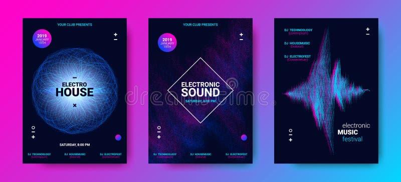 Αφίσα μουσικής κυμάτων με τις διαστιγμένες γραμμές κυμάτων διανυσματική απεικόνιση