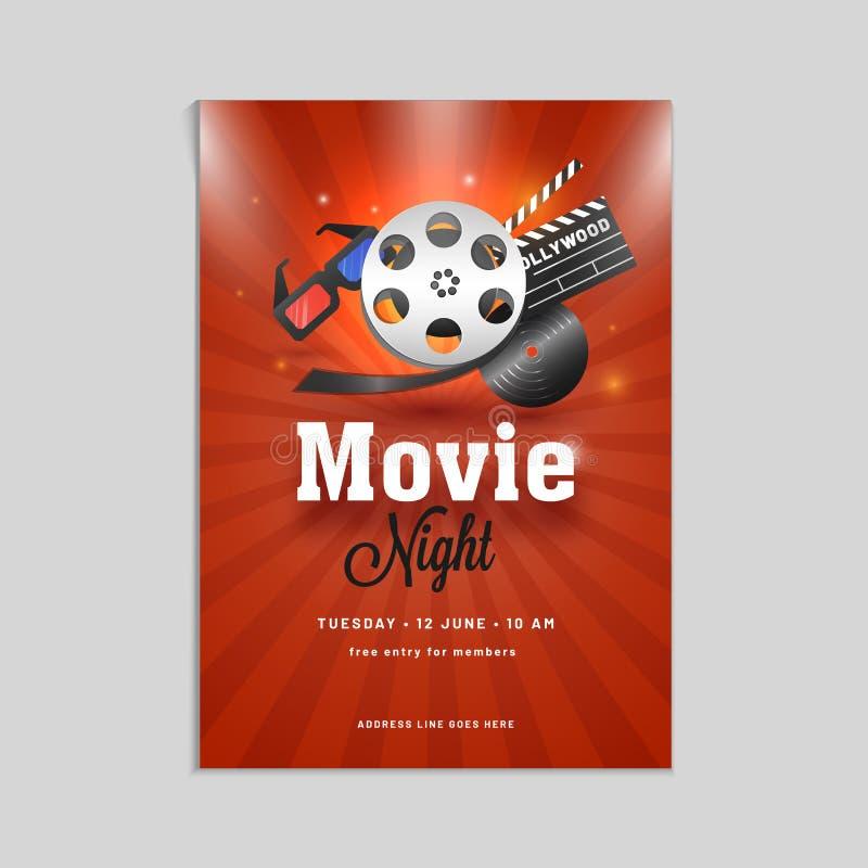 Αφίσα νύχτας κινηματογράφων, έμβλημα ή σχέδιο ιπτάμενων με το showreel, τρισδιάστατο gla ελεύθερη απεικόνιση δικαιώματος