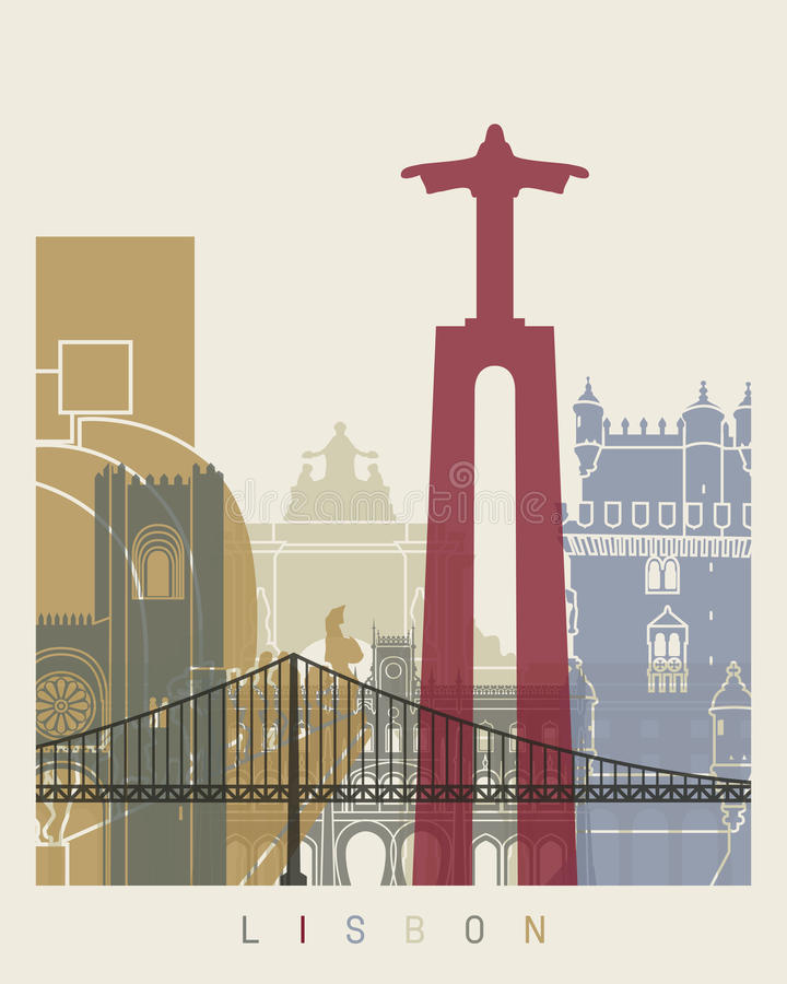 Αφίσα οριζόντων της Λισσαβώνας ελεύθερη απεικόνιση δικαιώματος