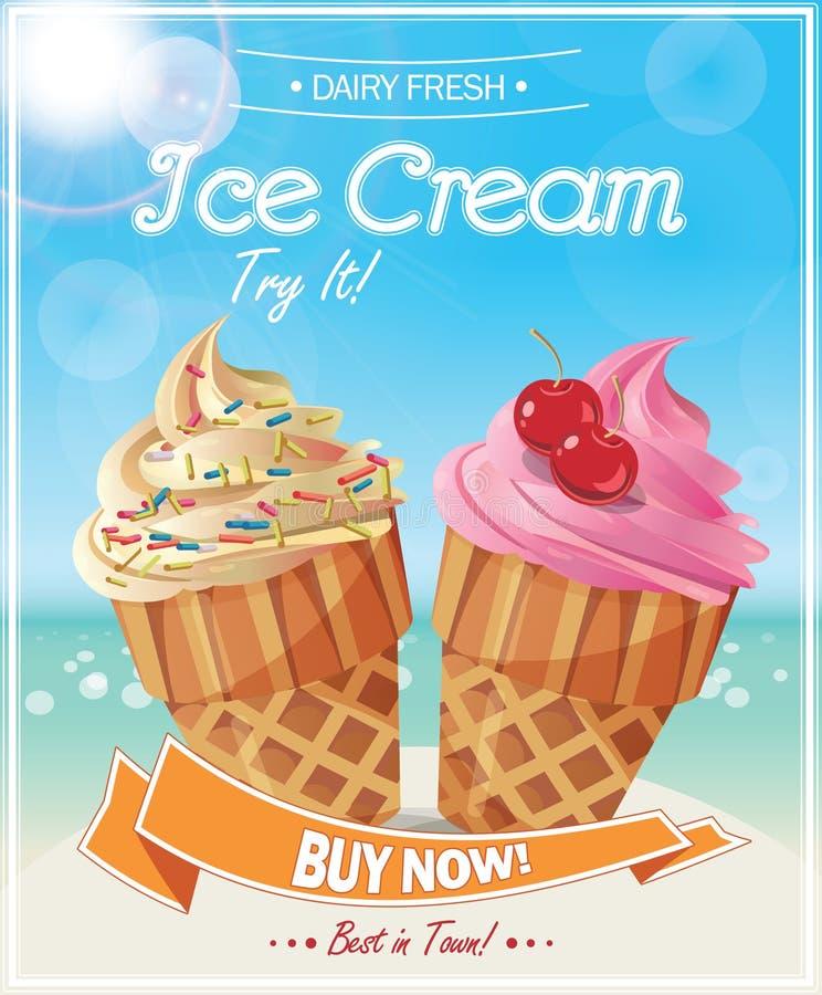 Αφίσα παγωτού διανυσματική απεικόνιση