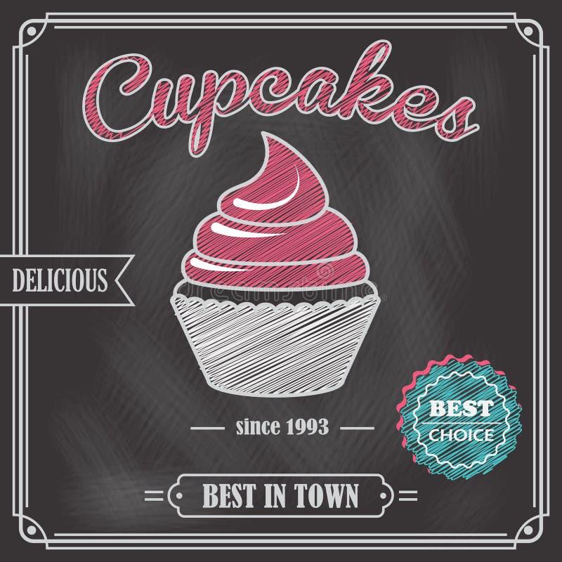 Αφίσα πινάκων κιμωλίας Cupcake διανυσματική απεικόνιση