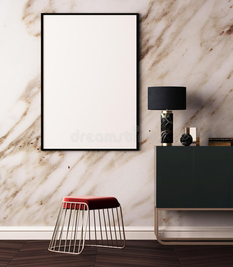 Αφίσα προτύπων στο εσωτερικό ύφους deco τέχνης Αφίσα στο υπόβαθρο ενός μαρμάρινου τοίχου τρισδιάστατη απεικόνιση τρισδιάστατη από διανυσματική απεικόνιση