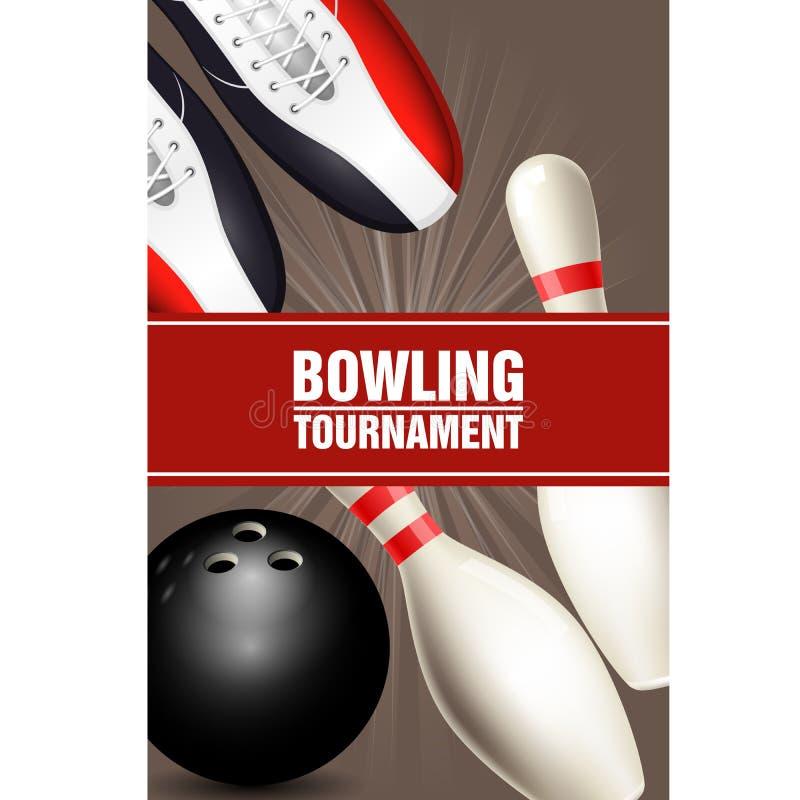 Αφίσα πρωταθλημάτων μπόουλινγκ με τα παπούτσια, skittles και τη σφαίρα μπόουλινγκ ελεύθερη απεικόνιση δικαιώματος
