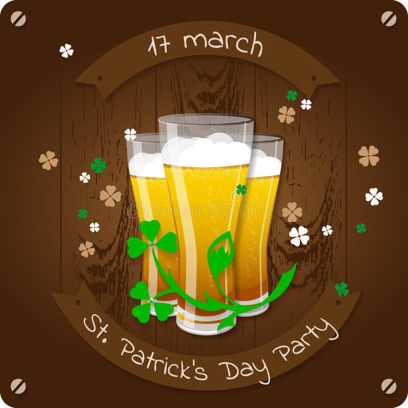 Αφίσα πρόσκλησης κομμάτων μπύρας ημέρας του ST Πάτρικ ` s διανυσματική απεικόνιση