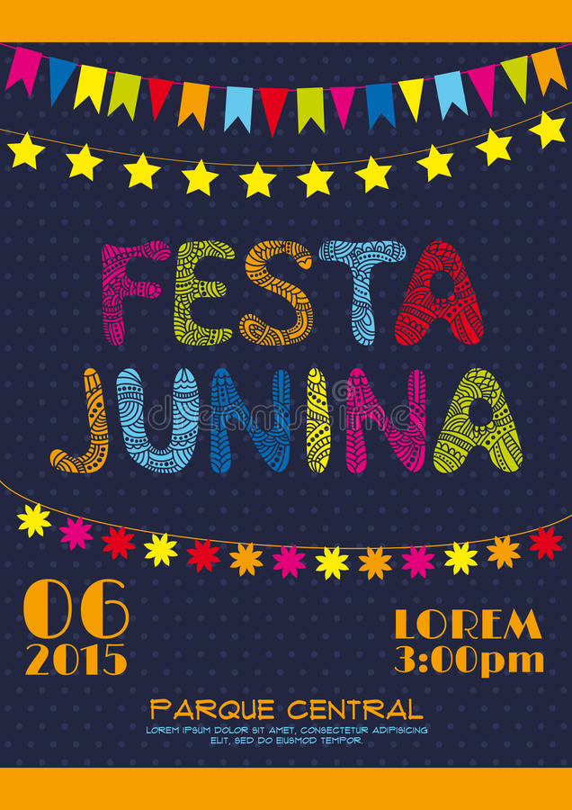 Αφίσα πρόσκλησης κομμάτων της Βραζιλίας Ιούνιος διανυσματική απεικόνιση