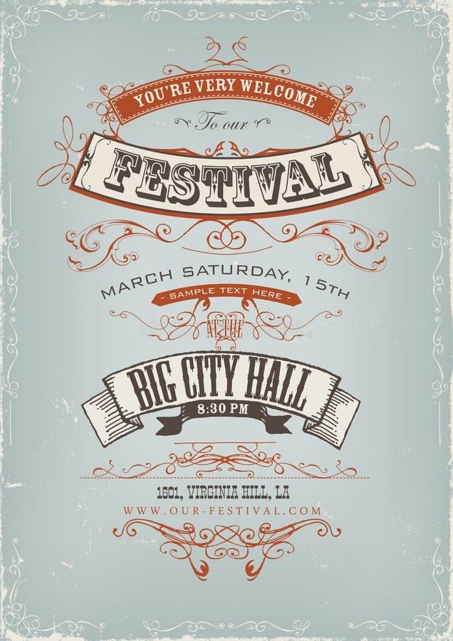 Αφίσα πρόσκλησης φεστιβάλ Grunge απεικόνιση αποθεμάτων