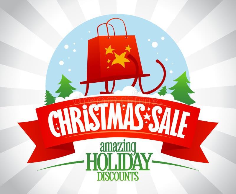 Αφίσα πώλησης Χριστουγέννων, καταπληκτικές εκπτώσεις διακοπών, διανυσματική απεικόνιση με τη σφαίρα χιονιού διανυσματική απεικόνιση