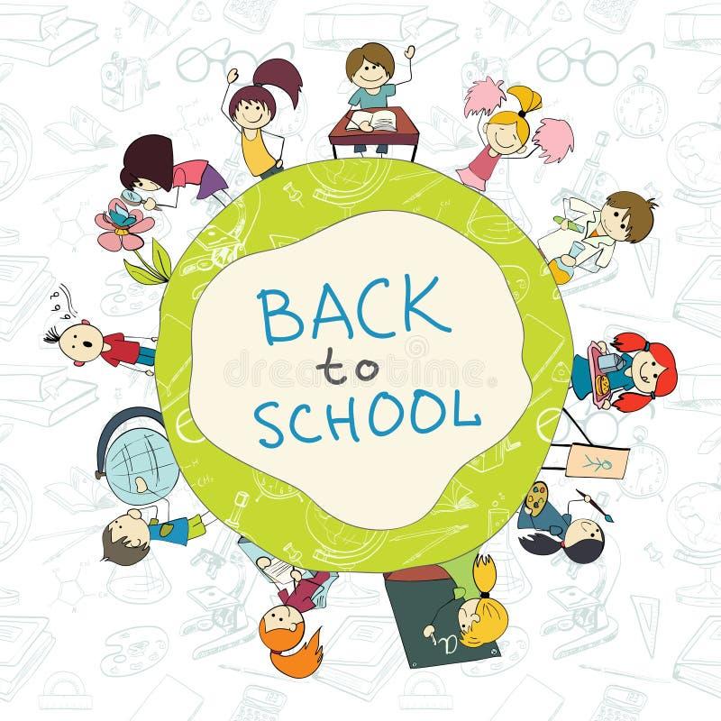 Αφίσα σκίτσων σχολικών εμβλημάτων παιδιών διανυσματική απεικόνιση