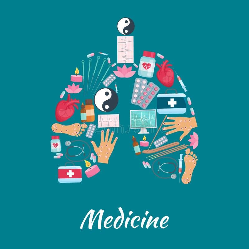 Αφίσα στοιχείων ιατρικής βελονισμού του συμβόλου πνευμόνων απεικόνιση αποθεμάτων