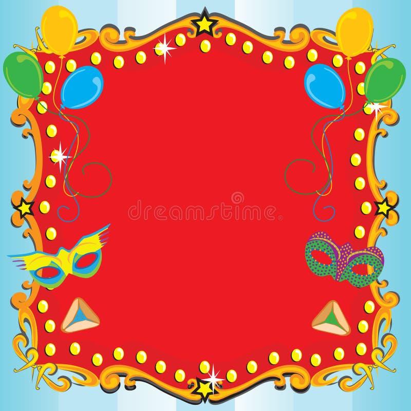 αφίσα συμβαλλόμενων μερών πρόσκλησης καρναβαλιού purim απεικόνιση αποθεμάτων