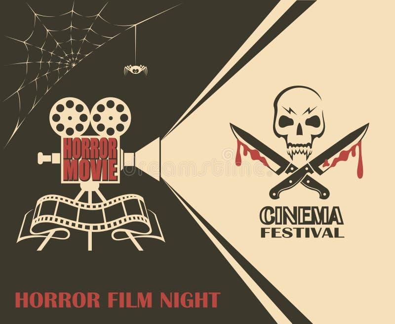 Αφίσα ταινίας τρόμου απεικόνιση αποθεμάτων