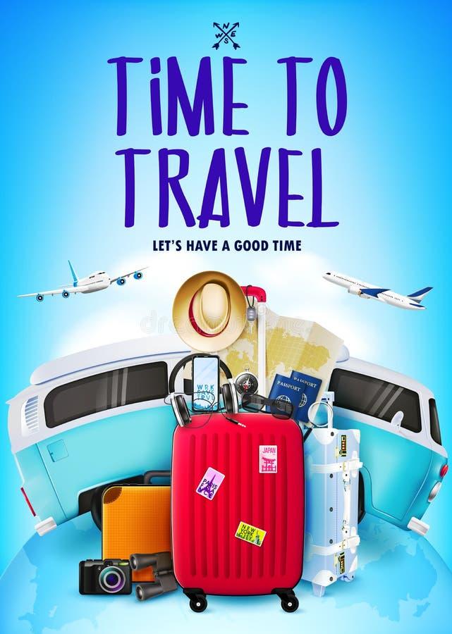 Αφίσα ταξιδιού ή τουρισμού στο μπλε υπόβαθρο με την τρισδιάστατη ρεαλιστική διακινούμενη τσάντα, αυτοκίνητο, αεροπλάνα ελεύθερη απεικόνιση δικαιώματος