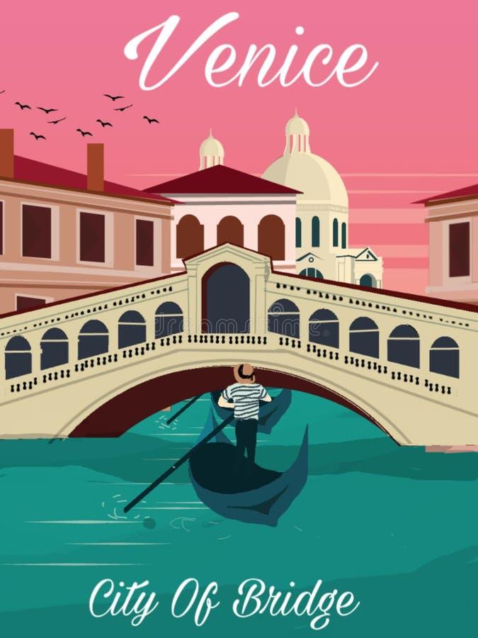 Αφίσα ταξιδιού της Βενετίας Ιταλία γεφυρών Rialto με την άποψη ηλιοβασιλέματος απεικόνιση αποθεμάτων