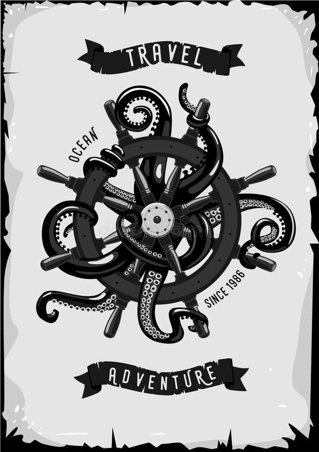 Αφίσα ταξιδιού με το σκάφος whell και το χταπόδι Ύφος Vinatge απεικόνιση αποθεμάτων