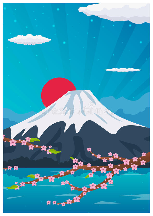 Αφίσα ταξιδιού στην Ιαπωνία Διανυσματική επίπεδη απεικόνιση ελεύθερη απεικόνιση δικαιώματος