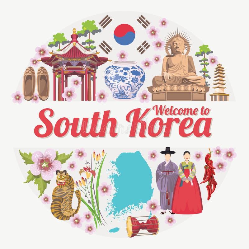Αφίσα ταξιδιού της Νότιας Κορέας στον κύκλο Έμβλημα ταξιδιών της Κορέας με τα κορεατικά αντικείμενα διανυσματική απεικόνιση