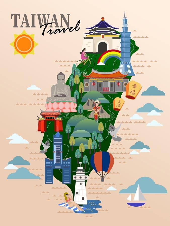 Αφίσα ταξιδιού της Ταϊβάν διανυσματική απεικόνιση
