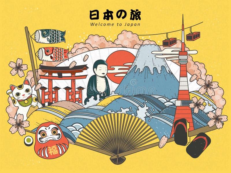 Αφίσα τουρισμού της Ιαπωνίας ελεύθερη απεικόνιση δικαιώματος