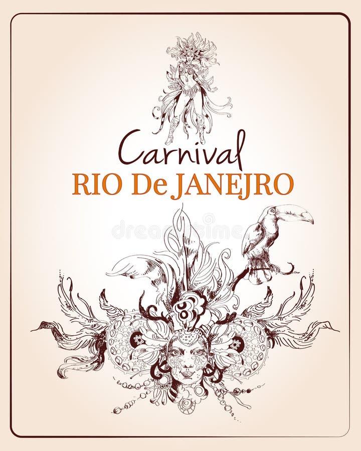 Αφίσα του Ρίο καρναβάλι απεικόνιση αποθεμάτων