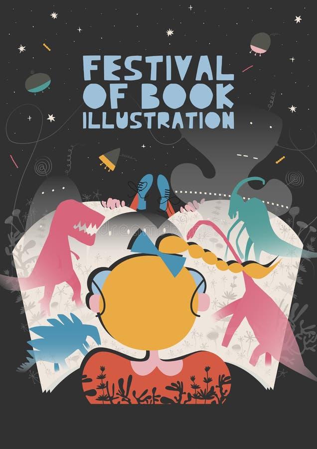 Αφίσα του φεστιβάλ της έννοιας απεικόνισης βιβλίων Σύγχρονο γραφικό σχέδιο για το φεστιβάλ, έκθεση, κατάστημα ελεύθερη απεικόνιση δικαιώματος