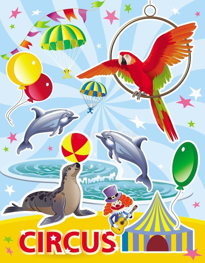 Αφίσα τσίρκων με τα δελφίνια, τη σφραγίδα, τον κόκκινους παπαγάλο και τον κλόουν διανυσματική απεικόνιση
