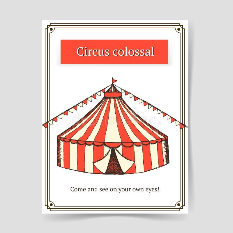 Αφίσα τσίρκων σκίτσων στο εκλεκτής ποιότητας ύφος ελεύθερη απεικόνιση δικαιώματος