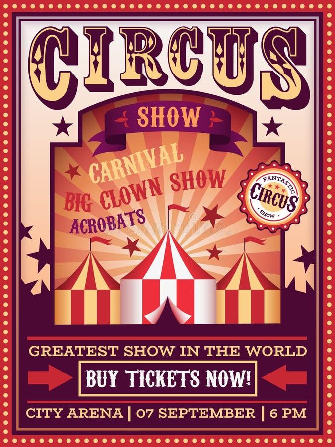 Αφίσα τσίρκων Το διακινούμενο τσίρκο με το φεστιβάλ καρναβαλιού σκηνών μαγικό παρουσιάζει έμβλημα, αναδρομικό διάνυσμα ιπτάμενων  διανυσματική απεικόνιση