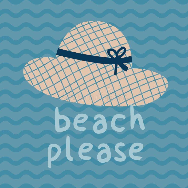 Αφίσα τυπωμένων υλών θερινών καπέλων παραλιών παρακαλώ στοκ εικόνες