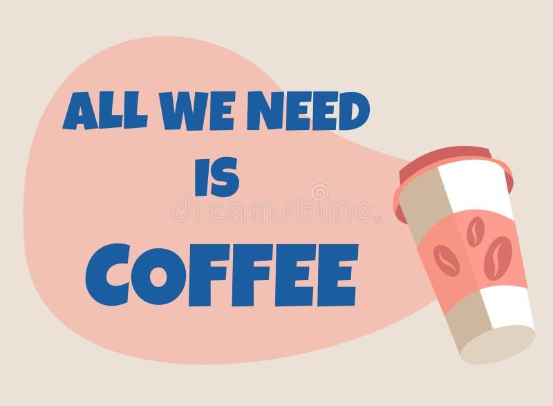 Αφίσα υποδοχής για τη καφετερία με το take-$l*away φλυτζάνι διανυσματική απεικόνιση