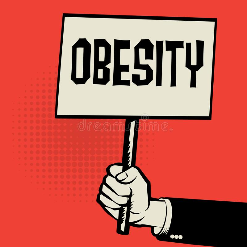 Αφίσα υπό εξέταση, επιχειρησιακή έννοια με την παχυσαρκία κειμένων ελεύθερη απεικόνιση δικαιώματος
