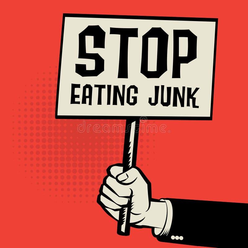 Αφίσα υπό εξέταση, επιχειρησιακή έννοια με τη στάση κειμένων που τρώει τα παλιοπράγματα απεικόνιση αποθεμάτων