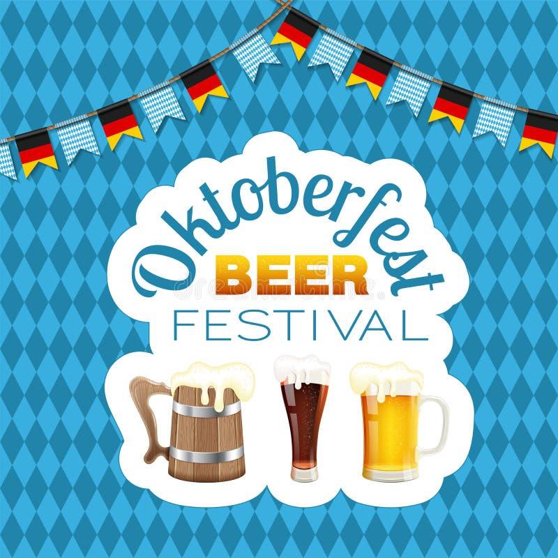 Αφίσα φεστιβάλ μπύρας Oktoberfest απεικόνιση αποθεμάτων