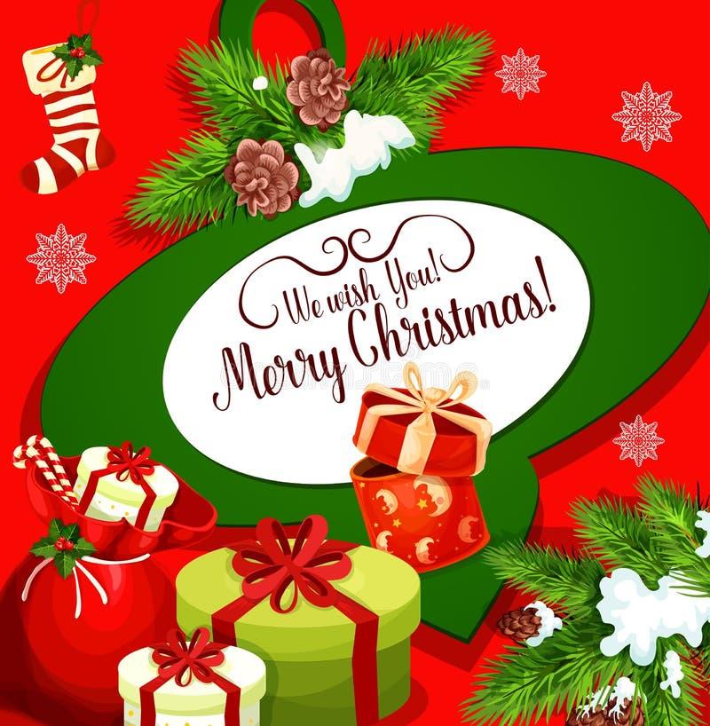 Αφίσα χαιρετισμού Χριστουγέννων με την τσάντα δώρων Santa απεικόνιση αποθεμάτων