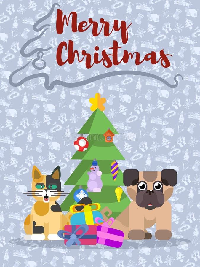 Αφίσα Χριστουγέννων με το σκυλί, το δέντρο και τη γάτα απεικόνιση αποθεμάτων