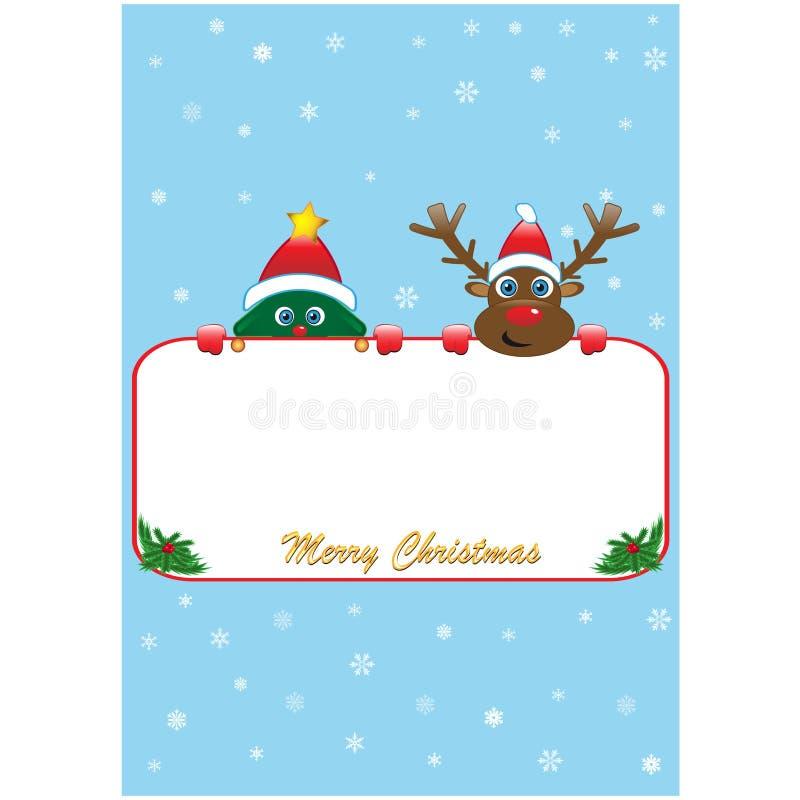 Αφίσα Χριστουγέννων με το Rudolf και το δέντρο απεικόνιση αποθεμάτων