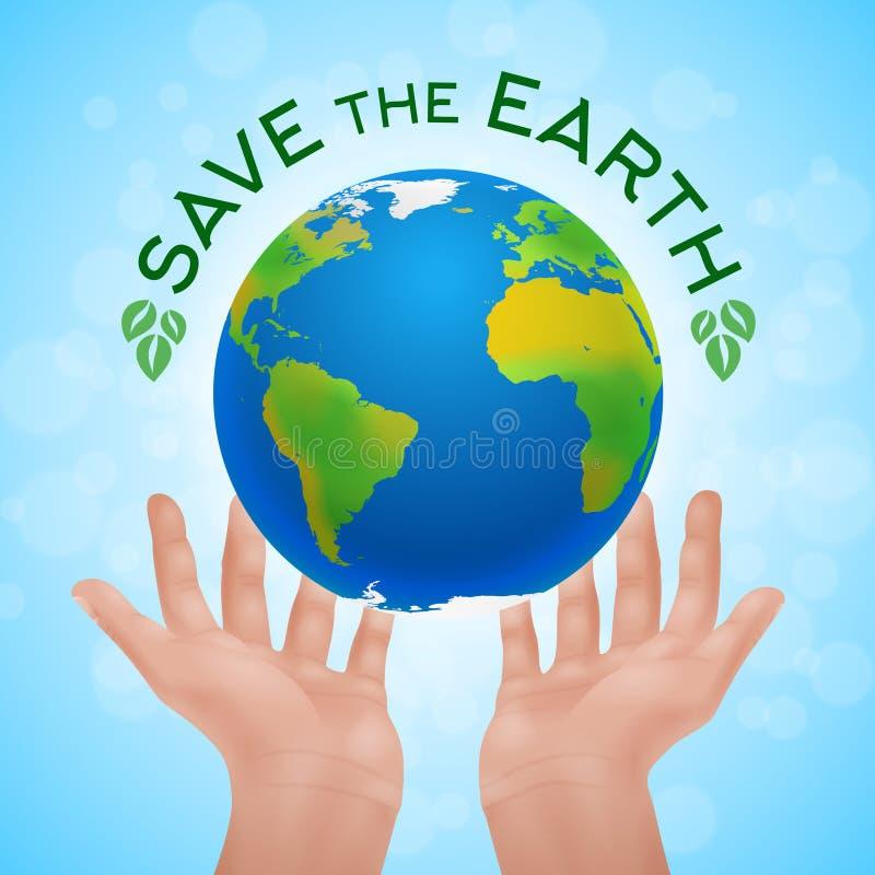 Αφίσα Eco δύο ανθρώπινων χεριών που κρατούν το πλανήτη Γη διανυσματική απεικόνιση