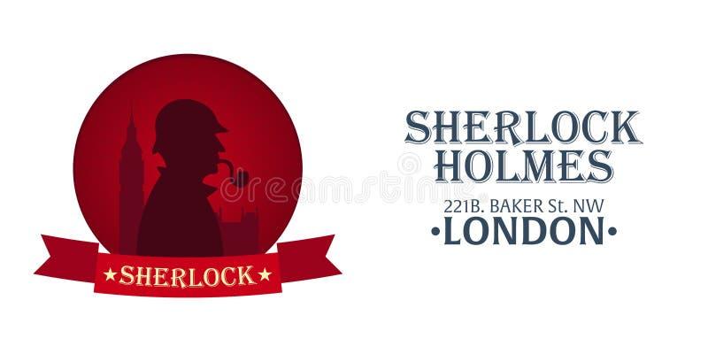 Αφίσα Holmes Sherlock Απεικόνιση ιδιωτικών αστυνομικών Απεικόνιση με Sherlock Holmes Οδός Baker 221B Λονδίνο απαγόρευση μεγάλη ελεύθερη απεικόνιση δικαιώματος