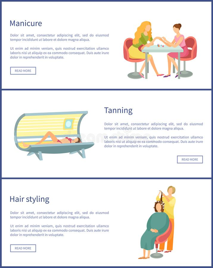 Αφίσες διαδικασίας μανικιούρ και μαυρίσματος καθορισμένες διανυσματικές απεικόνιση αποθεμάτων