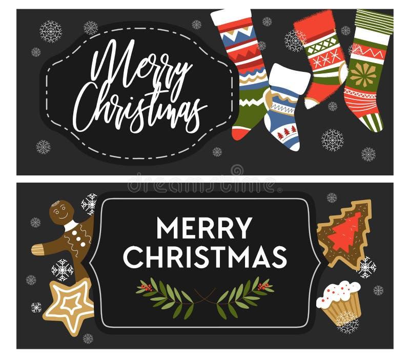 Αφίσες εορτασμού χειμερινών διακοπών Χαρούμενα Χριστούγεννας με τους χαιρετισμούς διανυσματική απεικόνιση
