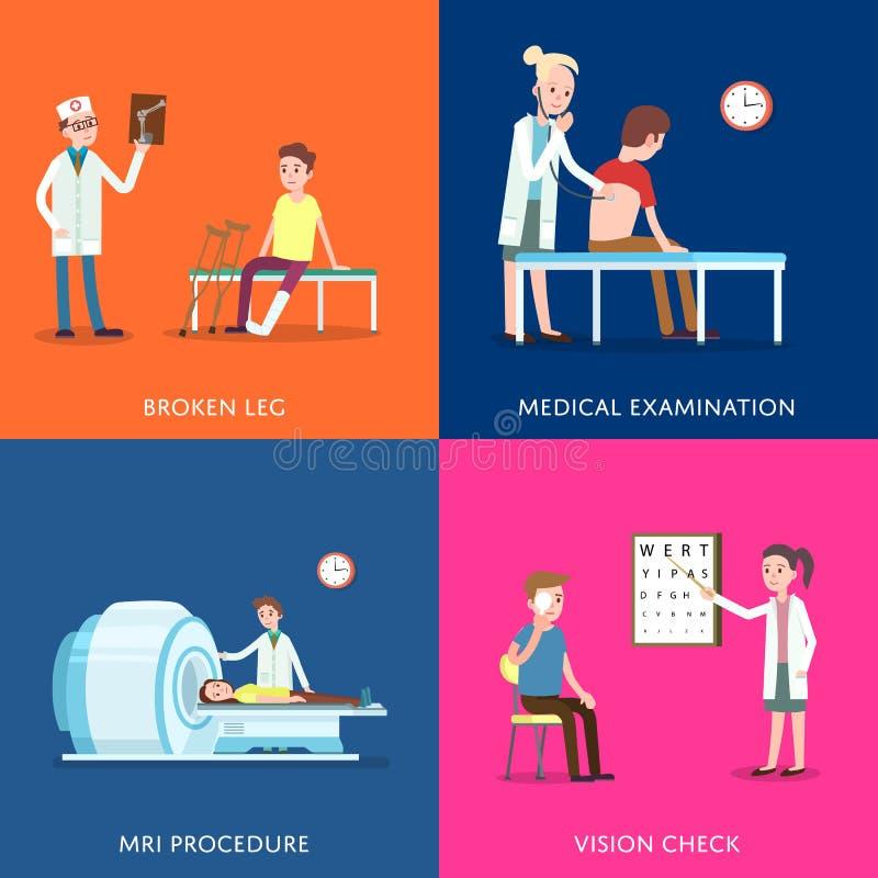 Αφίσες ιατρικής περίθαλψης και υγειονομικής περίθαλψης απεικόνιση αποθεμάτων