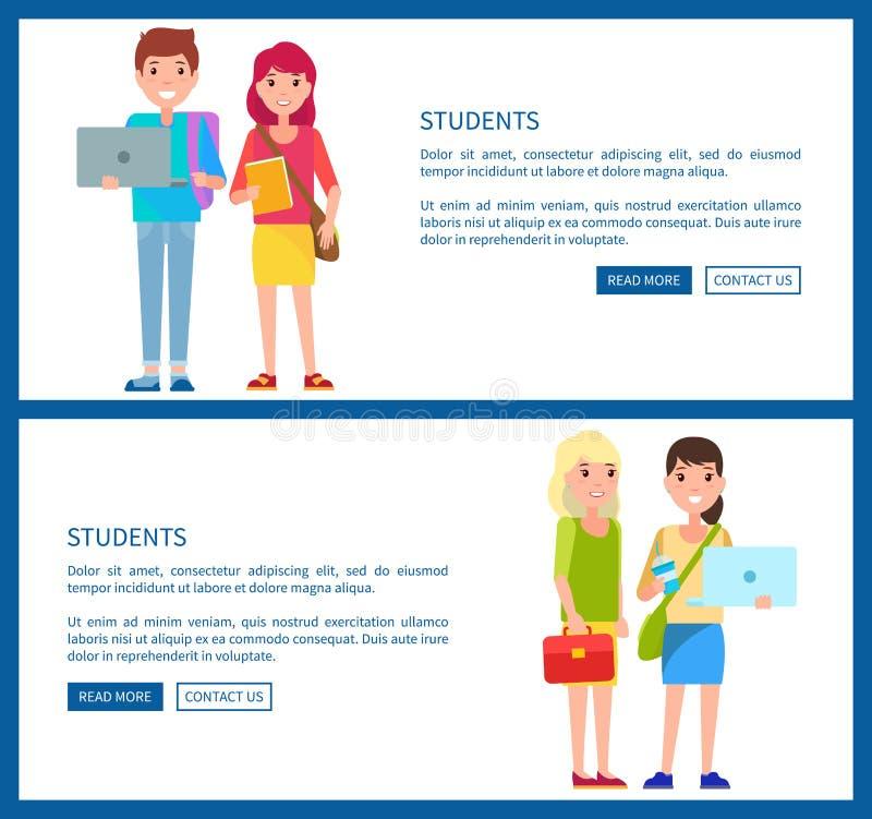Αφίσες Ιστού ύφους κινούμενων σχεδίων αγοριών και κοριτσιών σπουδαστών διανυσματική απεικόνιση