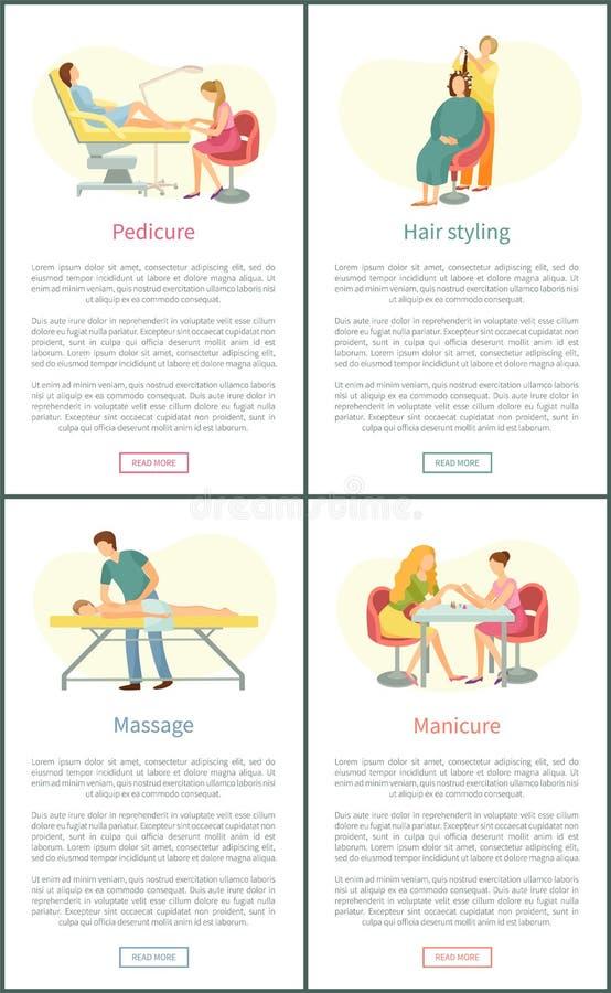 Αφίσες μασάζ Pedicure και μανικιούρ καθορισμένες διανυσματικές διανυσματική απεικόνιση
